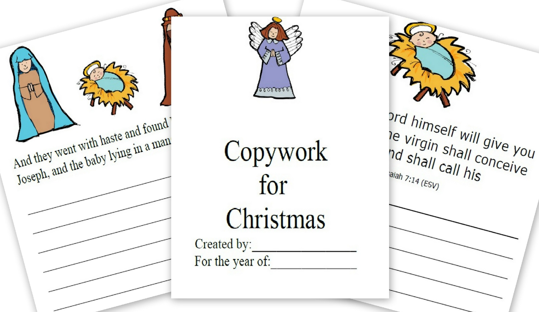 The Christmas Story FREE Printable For Copywork Great For Notebooking ...