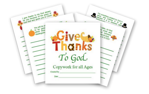 Give Thanks Copywork for Free at Moms Mustard Seeds